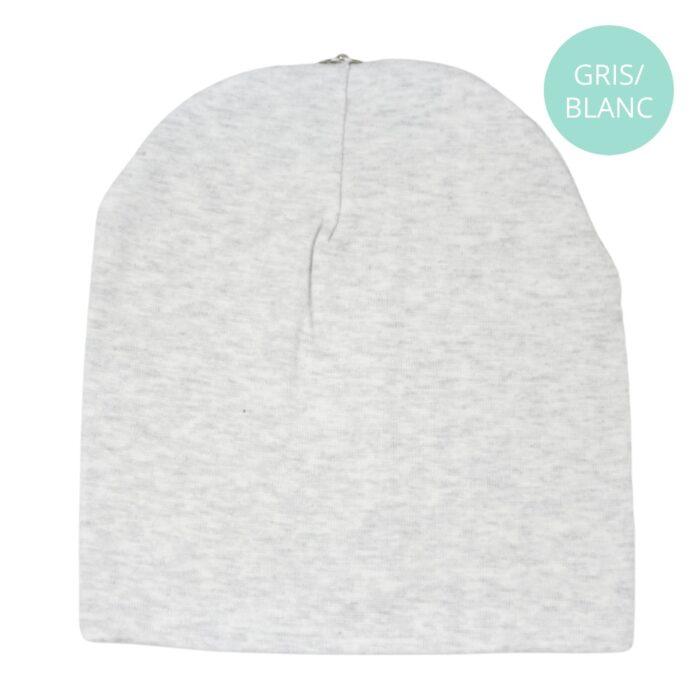 Tuque coton gris/blanc
